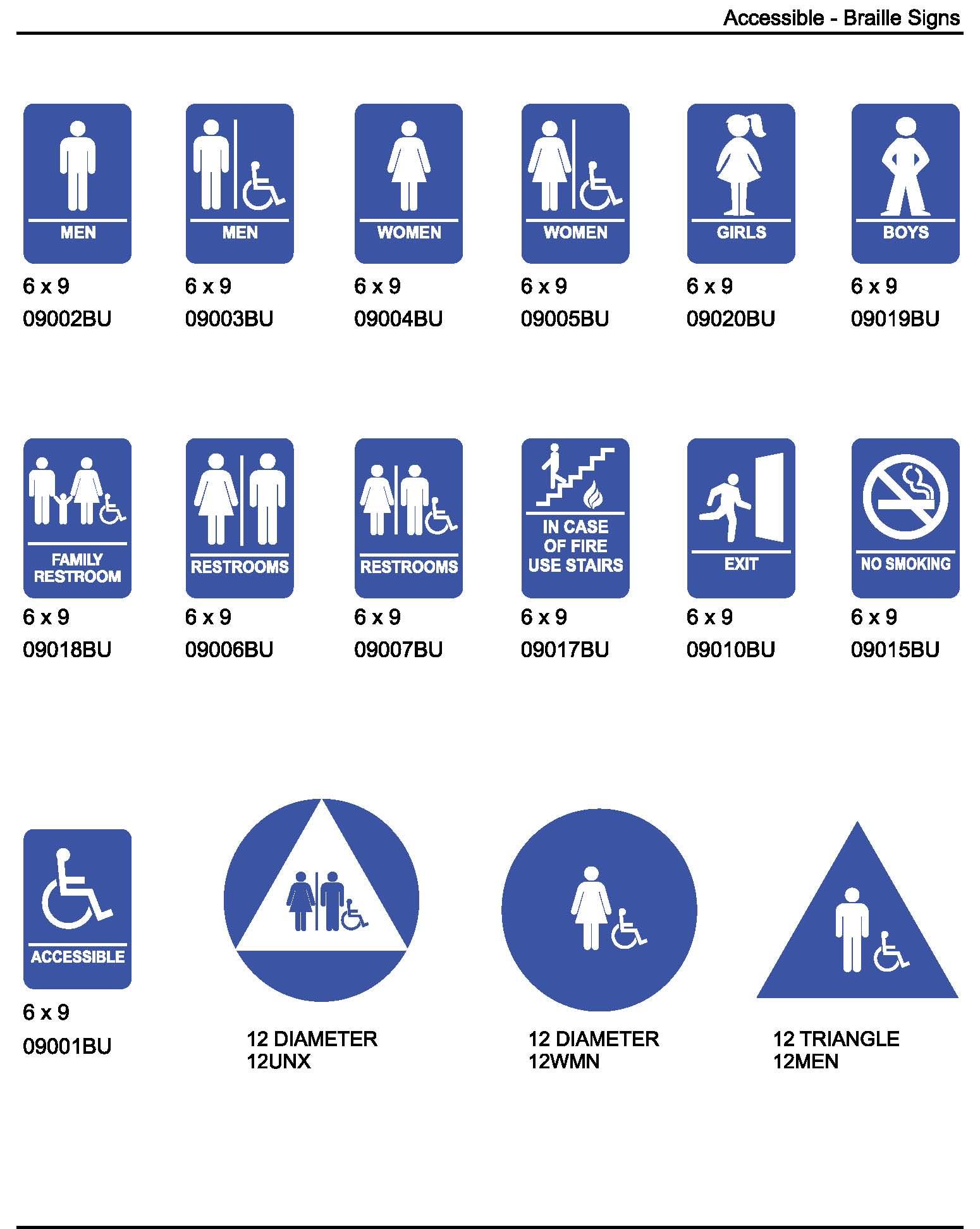 Ada bathroom signs